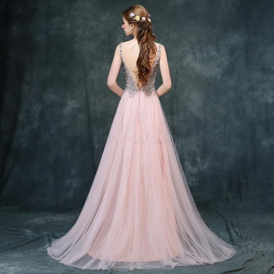 Luxury Backless Pink Long A-line Beaded V-Neck Prom Dresses_4