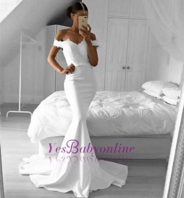 Lace Off-the-Shoulder Mermaid Elegant Prom Dresses_1