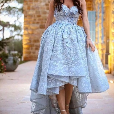 2019 Ball Gown High-Low Prom Dresses Sleeveless 3D Floral Appliques Evening Gowns_3