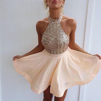 2019 Champagne Sequins Homecoming Dresses Halter Neck Backless Graduation Dresses_4