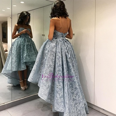 2019 Ball Gown High-Low Prom Dresses Sleeveless 3D Floral Appliques Evening Gowns_1