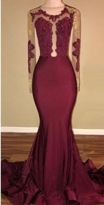 Amazing Burgundy Gold Prom Dresses | Long Sleeves Mermaid Evening Gowns_1