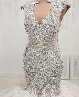 Stunning Straps Crystal Sequin Applique Open Back Fit And Flare Mermaid Wedding Dresses_2