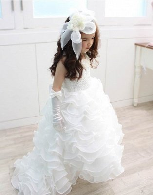 Lovely Organza Lace Layered Bowknot Floor-Length Flower Girl Dress with Pearls_1