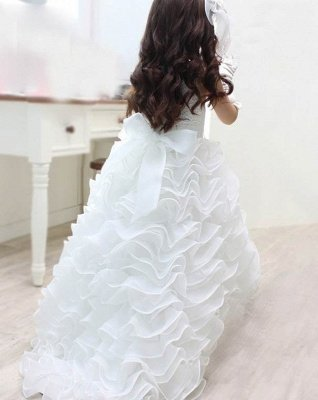 Lovely Organza Lace Layered Bowknot Floor-Length Flower Girl Dress with Pearls_3