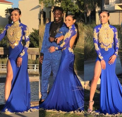 Amazing Royal Blue Prom Dresses High Neck Gold Appliques Slit Evening Gowns_4