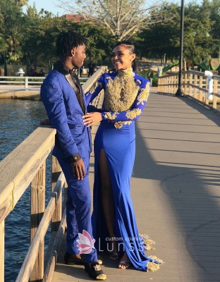 Amazing Royal Blue Prom Dresses High Neck Gold Appliques Slit Evening Gowns_3