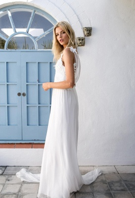 Boho Spaghetti Straps Backless Lace Chiffon Wedding Dresses | Destination Bridal Dresses_4