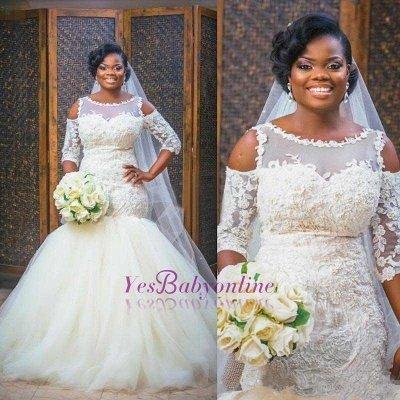 Newest Scoop Half-Sleeves Appliques Glamorous Tulle Mermaid Wedding Dress_1
