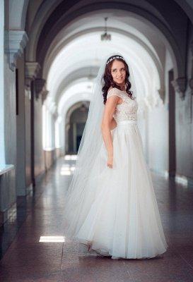 Cap-Sleeve Lace Tulle Split Glamorous Sweep Train Wedding Dress_6