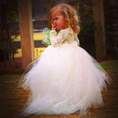 Cheap Long Sleeves Tulle Flower Girl Dress With Lace_2