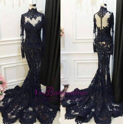 Black Appliques Lace Mermaid Beaded Long-Sleeve High-Neck Sequined Prom Dress_3