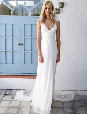 Boho Spaghetti Straps Backless Lace Chiffon Wedding Dresses | Destination Bridal Dresses