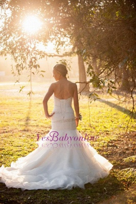 Wedding Gorgeous Mermaid Sweep-Train Lace-up Sweetheart Tulle Beads LDress_1
