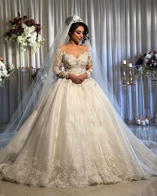 Graceful Jewel Long Sleeve Applique Crystal Ball Gown Wedding Dresses With Sheer Neck_2