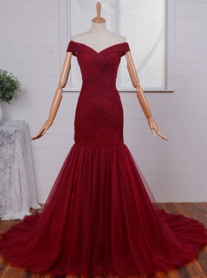 Ruched Red Off-the-Shoulder Long Tulle Mermaid Prom Dresses_2