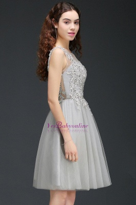 Lace Appliques Silver Jewel Sleeveless Short Homecoming Dress_6