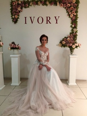 Sweep-Train A-line Delicate Tulle Appliques Lace Long-Sleeve Bridal Dress_5