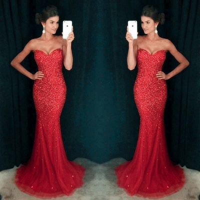 Sweetheart Mermaid Sequins Crystals Sparkly Long Prom Dress_3