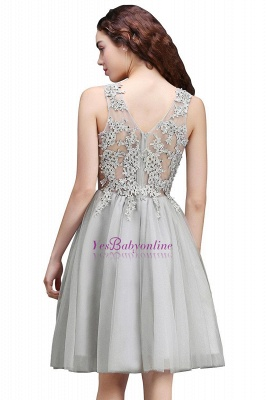 Lace Appliques Silver Jewel Sleeveless Short Homecoming Dress_7