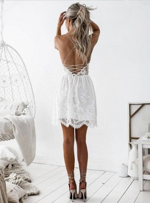 Simple Lace Spaghetti Strap Short Sleeveless Homecoming Dress_3