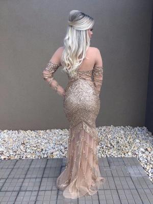 Mermaid Long-Sleeve Glamorous Beadings Prom Dress_3