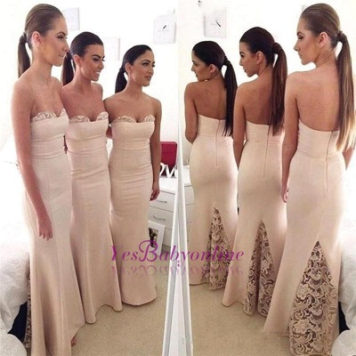 Mermaid Elegant Long Sweetheart Lace Bridesmaid Dress_1
