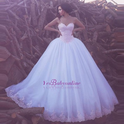 Glamorous Sweetheart Ball Gown Appliques Tulle Wedding Dresses_1