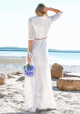 Boho Style Jewel Half Sleeves Floor Lenth Belted Wedding Dresses | Beach Lace Wedding Gowns_4