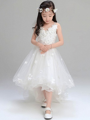 Lovely A-Line Tulle Spaghetti Straps Hi-Lo Sleeveless Flower Girl Dress_1