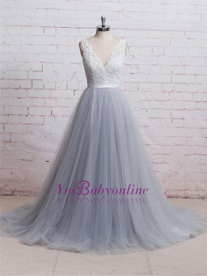Sweep-Train Lace Bodice  Skirt V-neck A-line Prom Dresses_1