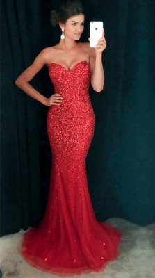 Sweetheart Mermaid Sequins Crystals Sparkly Long Prom Dress_2