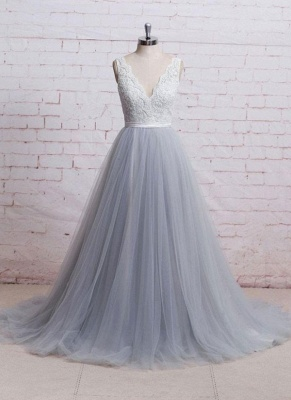Sweep-Train Lace Bodice  Skirt V-neck A-line Prom Dresses_2