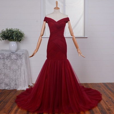 Ruched Red Off-the-Shoulder Long Tulle Mermaid Prom Dresses_3