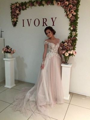 Sweep-Train A-line Delicate Tulle Appliques Lace Long-Sleeve Bridal Dress_4