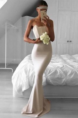 Elegant Mermaid Simple Sweep-Train Strapless Prom Dress_2