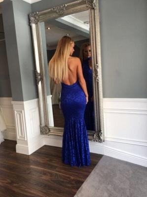 Mermaid Sleeveless Newest Backless Lace Floor-length High-Neck Prom Dress_5