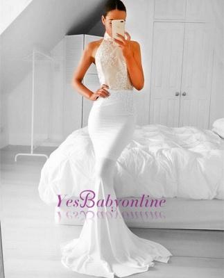 Halter Appliques Mermaid Simple Sleeveless Prom Dress_1