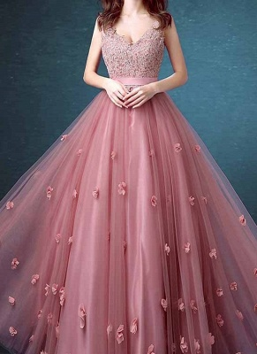 Beaded Lace Long Sleeveless A-line Floral-Appliques Prom Dresses_2