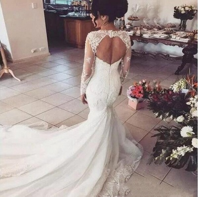 Glamorous Mermaid Sweetheart Wedding Dresses | Long Sleeves Lace Beaded Bridal Gowns_1