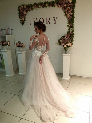 Sweep-Train A-line Delicate Tulle Appliques Lace Long-Sleeve Bridal Dress_3