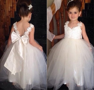 Sweet Tulle Lace Applique Flower Girl Dresses | Backless Long Bowknot Children Gowns BO8533_1