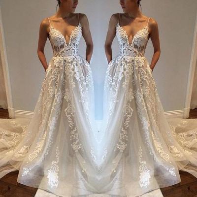 Glamorous A-line Spaghetti Straps Lace Appliques V-Neck Pockets Wedding Dresses_3