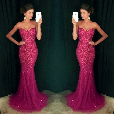 Sweetheart Mermaid Sequins Crystals Sparkly Long Prom Dress_4