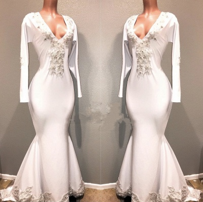 Mermaid White Long Sleeves Evening Dresses | V-Neck Lace Appliques Beaded Prom Dresses_3