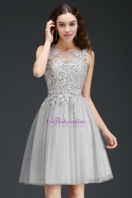 Lace Appliques Silver Jewel Sleeveless Short Homecoming Dress_8