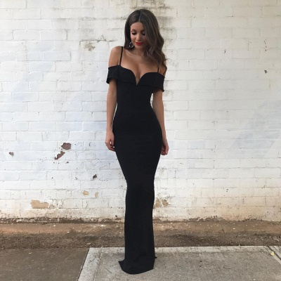 Off-the-Shoulder Mermaid Floor-length Black Modest Prom Dress_3