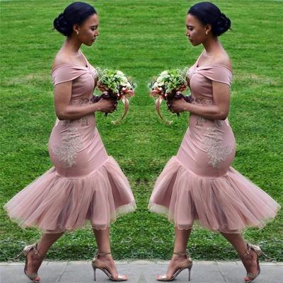 Off The Shoulder Pink Bridesmaid Dresses Cheap Online | Appliques Mermaid Sexy Short Bridesmaid Dress 2019 BA9508_3