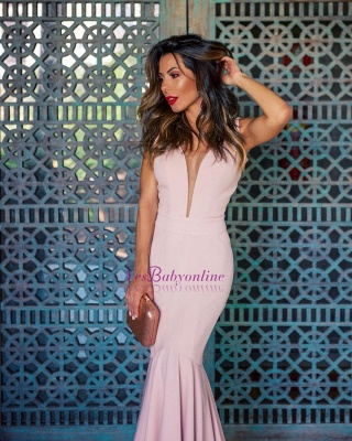 Sleeveless Long Open-Back Mermaid V-Neck Sexy Evening Gowns_4