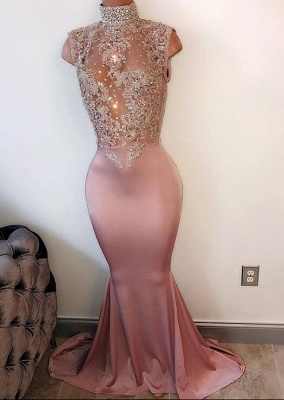 2019 Pearl Pink Mermaid Prom Dresses High Neck Sleeveless Lace Appliques Evening Gowns BA4598_2
